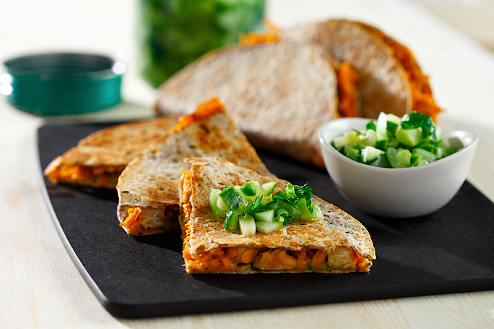 Chicken and Sweet Potato Quesadilla with green salsa