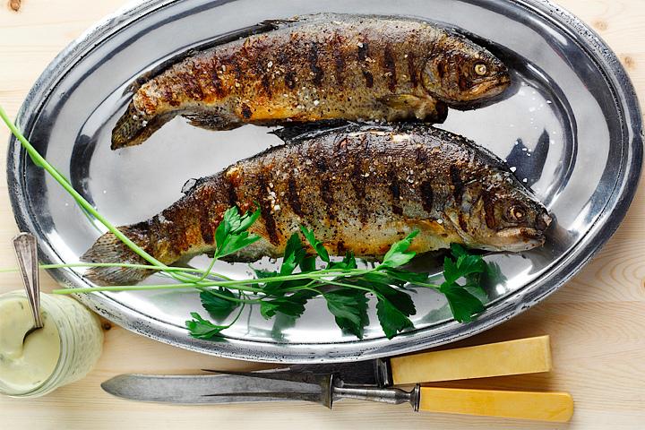 Whole Fish with Flat Leaf Parsley Garnish