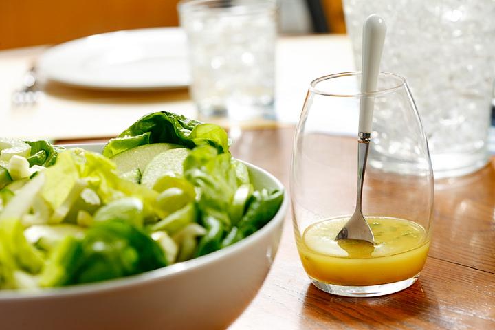 Green Green Salad with lemon honey mustard vinaigrette dressing