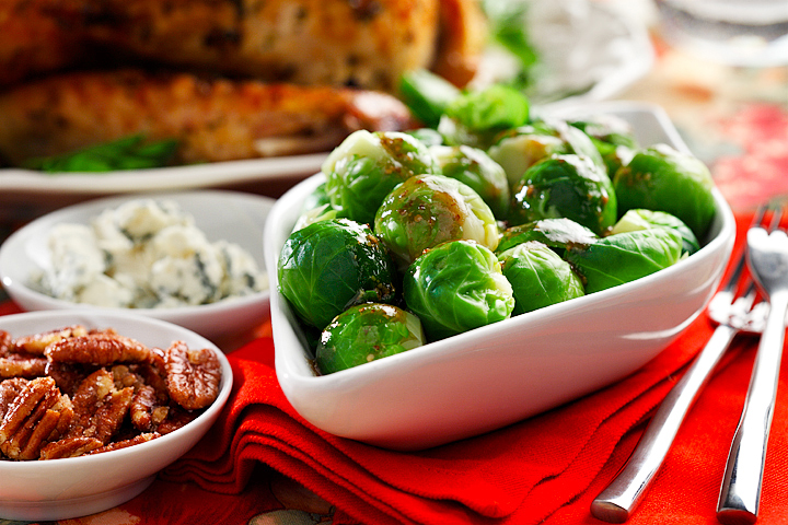 Cold Brussels Sprouts Salad with Glazed Pecans