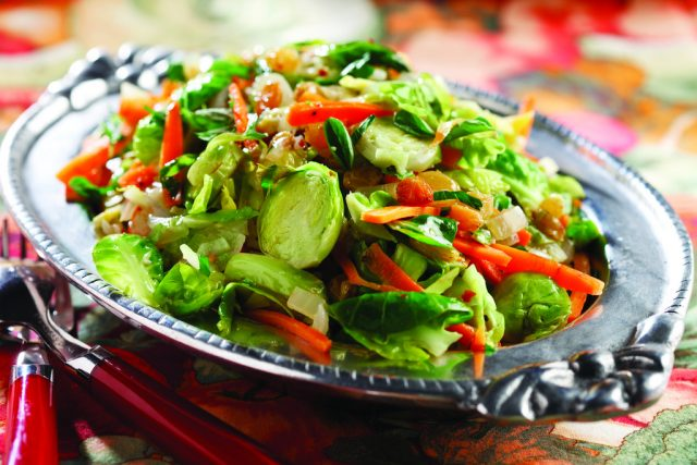 Sauteed Brussels Sprouts Slaw with Carrots and Golden Raisins