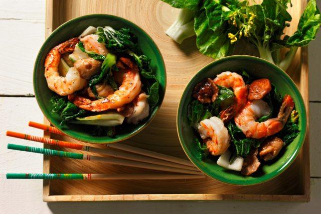 Stir-Fry Bok Choy and Shrimp