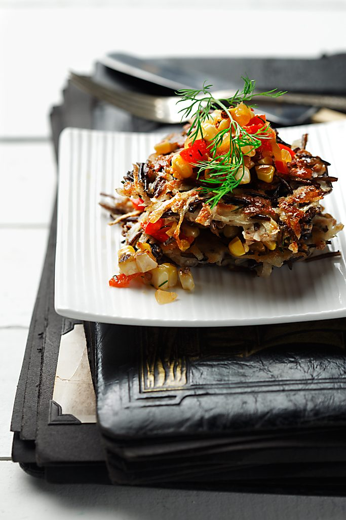 Wild Rice and Potato Pancakes with Corn Salsa | www.canolaeatwell.com