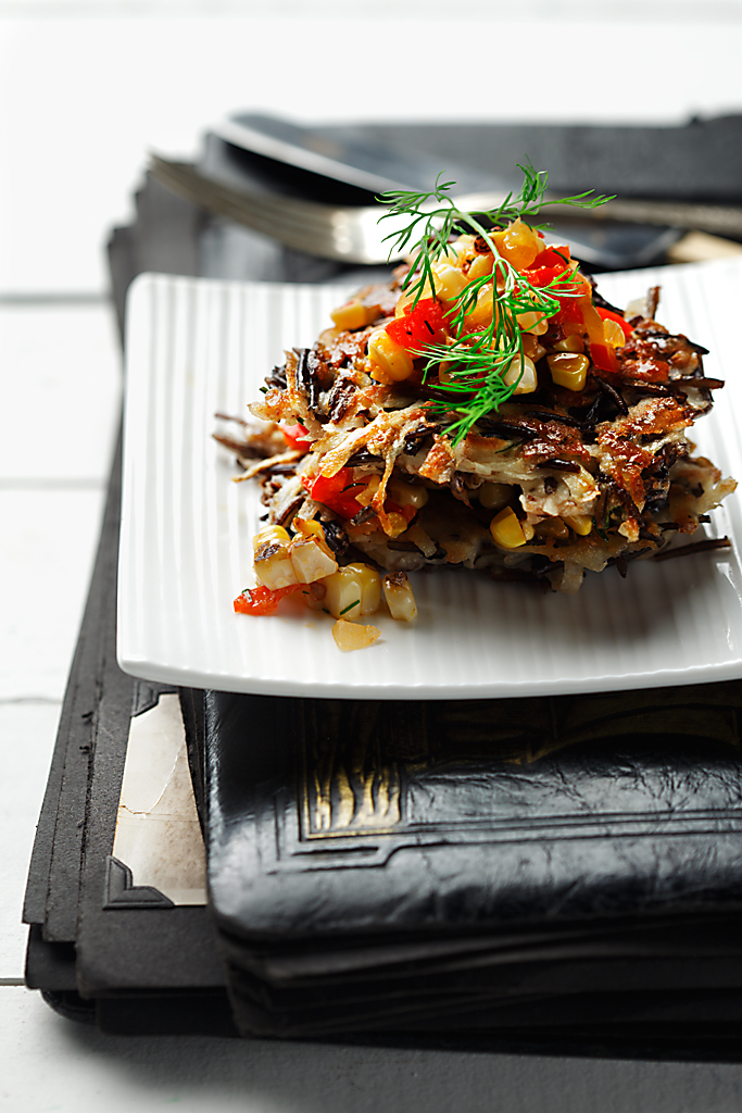Wild Rice and Potato Pancakes with Corn Salsa | www.canolarecipes.ca