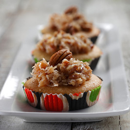 Caramel Cupcakes with Coconut Pecan Topping-S