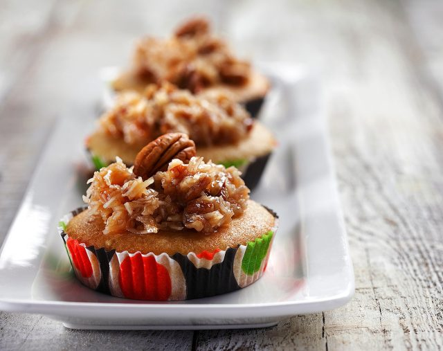 Caramel Cupcakes with Coconut Pecan Topping