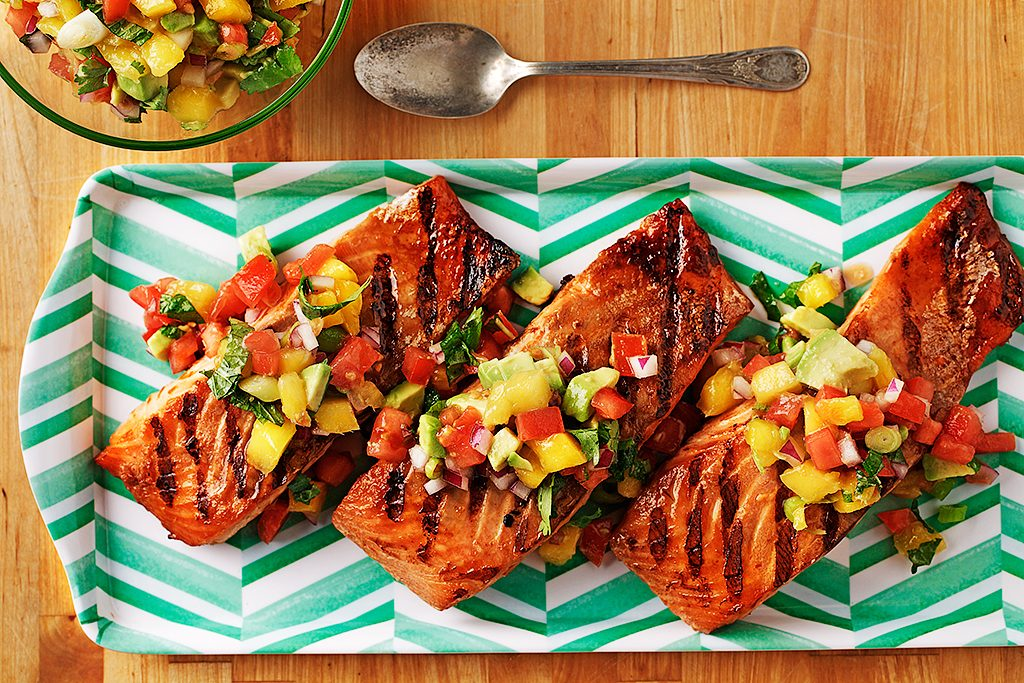 Fusion Grilled Salmon with Fruit Salsa