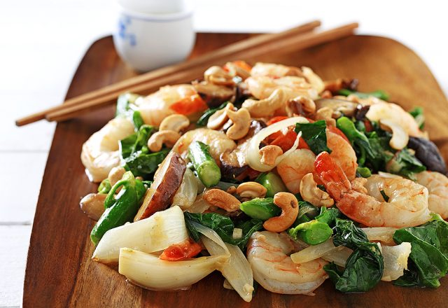 Ginger Shrimp with Gai Lan