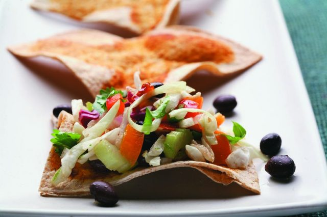 Mexican Coleslaw with Whole Wheat Tortilla Triangles