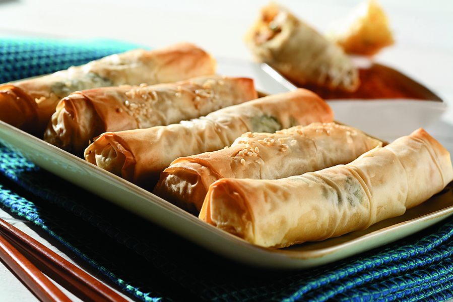 Phyllo Pastry Spring Rolls with Shrimp, Vegetables and Sweet Chilli Sauce