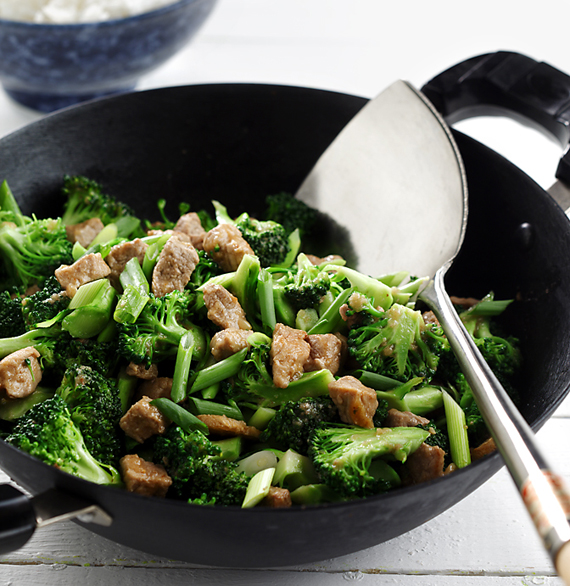 Stir-Fried Pork and Broccoli with Garlic-Ginger Sauce