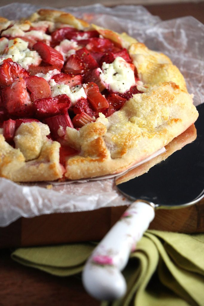 Strawberry Rhubarb Galette with Goat Cheese and Cracked Pepper