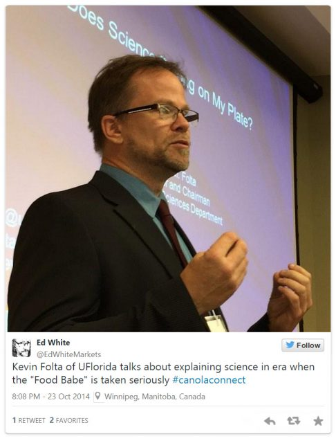 Dr. Folta presents: Does Science Belong on My Plate?