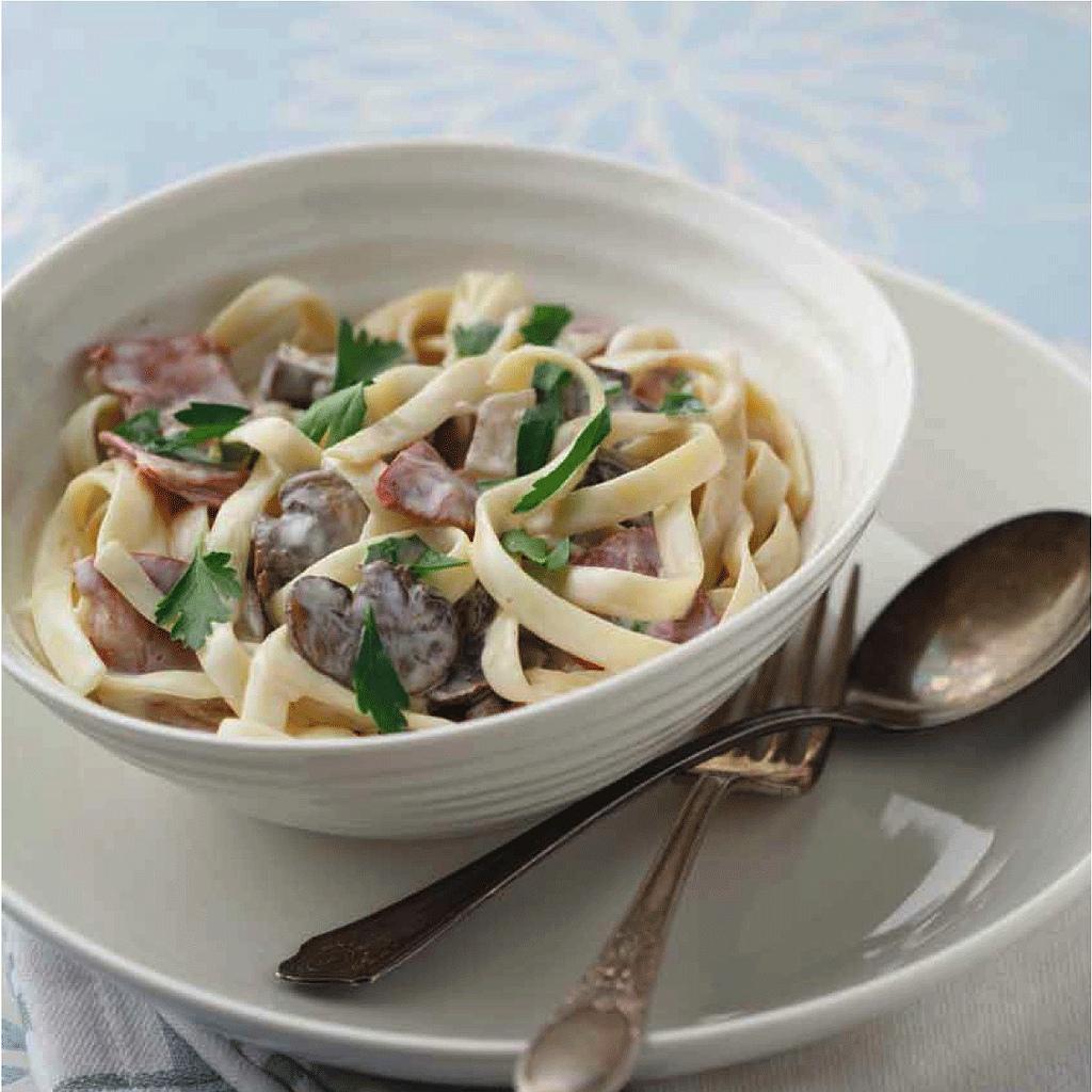 Capicolla and Mushroom Fettuccini