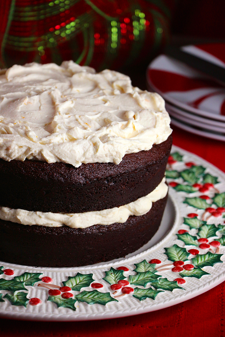 Chocolate Gingerbread Torte With Orange Mascarpone Whipped