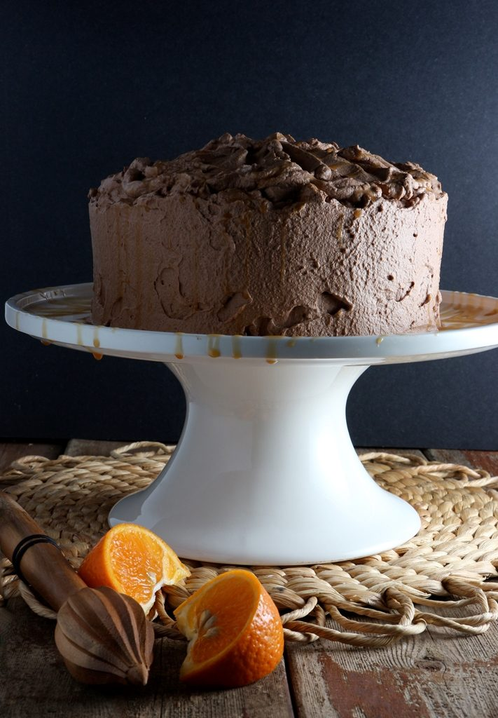 Dark Chocolate-Orange Cake with Salted Caramel Drizzle