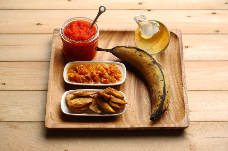 Fried Plantain with Fiery Curry Sauce