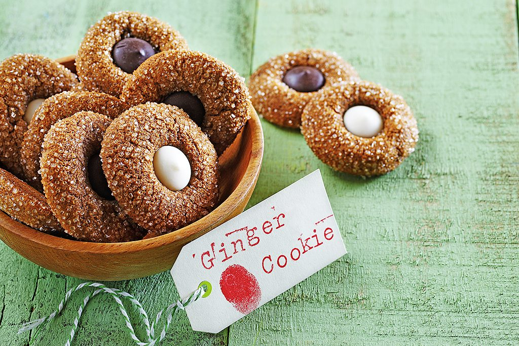 Ginger Thumbprint Cookies with Dark and White Chocolate