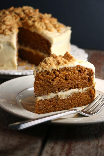 Spiced Pumpkin Cake with Molasses Cream Cheese Frosting & Ginger Snap Crumble