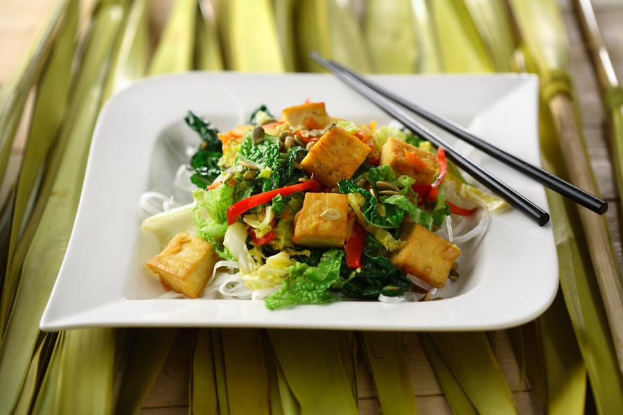 Warm Rice Noodle and Tofu Salad with Toasted Pumpkin Seeds