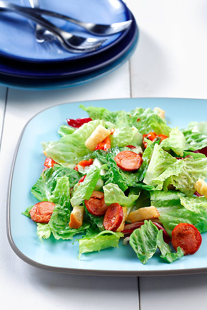 Warm Chorizo Salad with Red Wine Vinaigrette