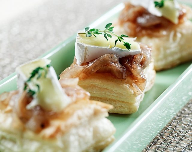 Caramelized Onions and Brie on Puff Pastry