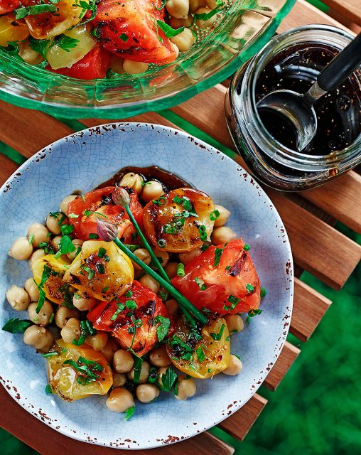 Grilled Tomato and Chickpea Salad