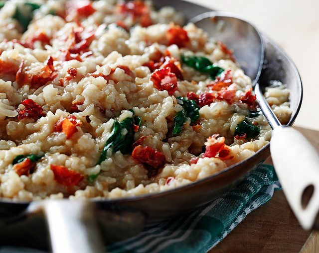 Spinach and Sundried Tomatoes Risotto