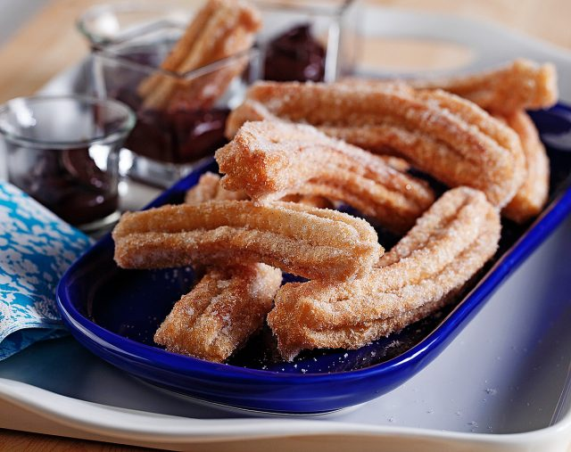 Vanilla Sugar Dusted Churros with Chocolate Sauce