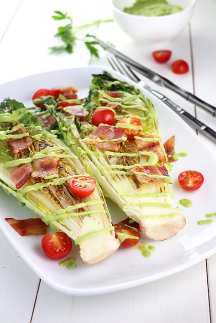 Grilled Romaine with Green Goddess Dressing