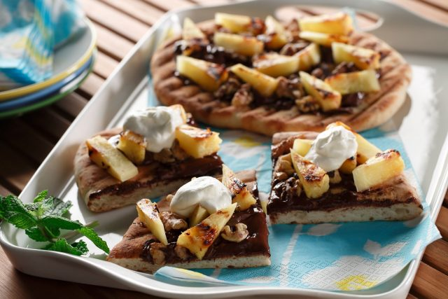 Chocolate and Grilled Pineapple Dessert Pizza