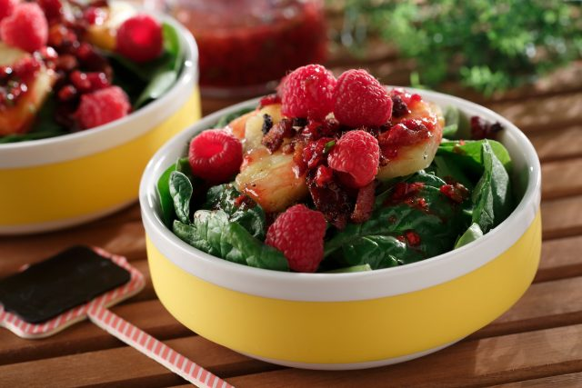 Grilled Pineapple Spinach Salad with Raspberry Basil Vinaigrette