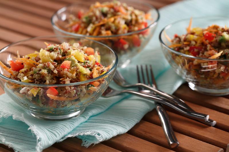Multi-Coloured Quinoa Salad with Lemon-Mint Dressing