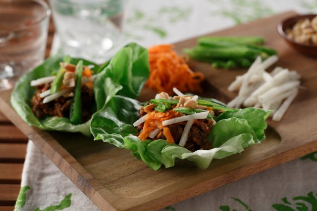 Spicy Beef and Jicama Lettuce Wraps