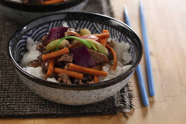 Ground Pork and Japanese Eggplant Stir-fry sautéed in a Ginger Garlic Bean Sauce