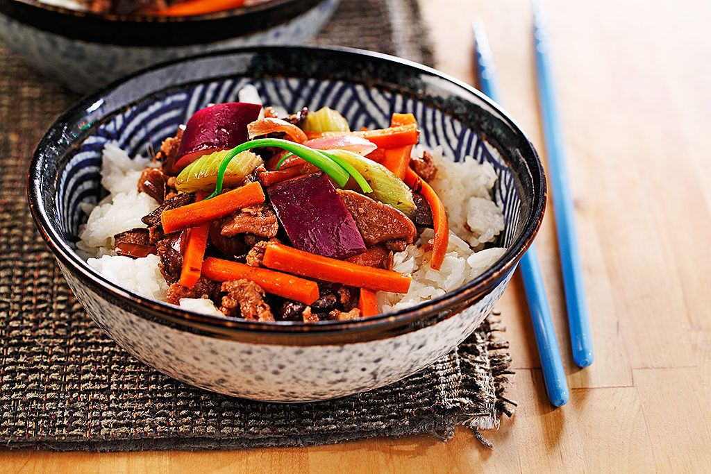 Ground Pork and Japanese Eggplant Stir-fry sautéed in a Ginger Garlic Bean Sauce