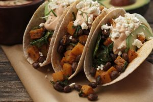 Butternut Squash and Black Bean Tacos with Smoky Lime Crème