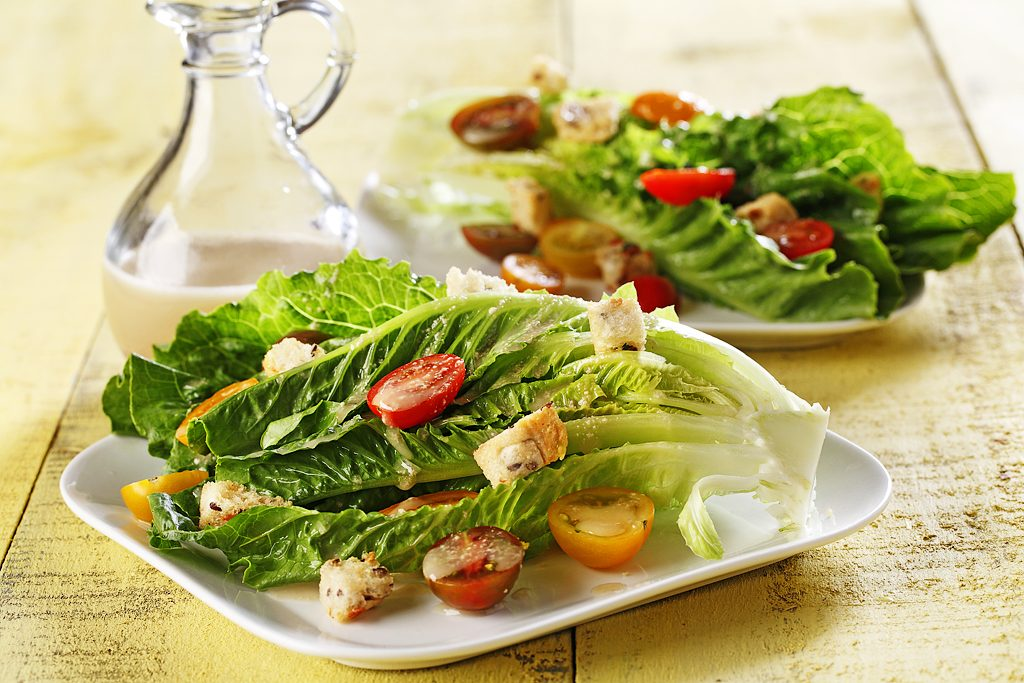 Lemony Caesar Salad With Whole Grain Croutons