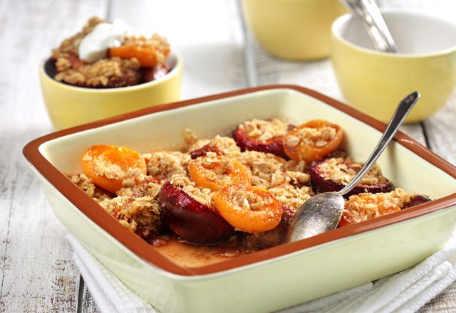 Roasted Stone Fruit with Cookie Crumble