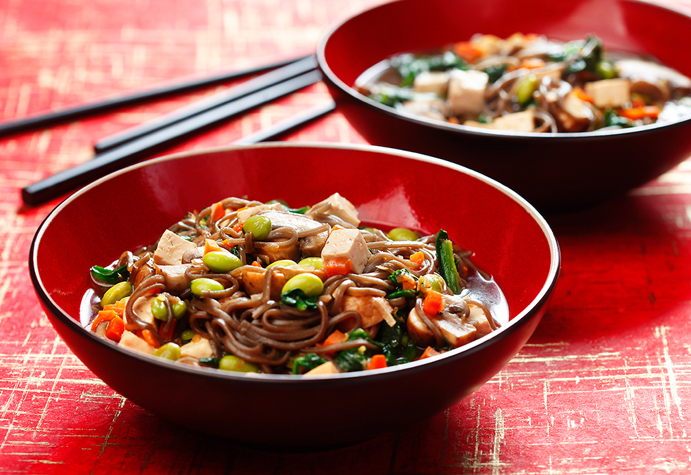 Soba Noodles with Mushroom, Spinach and Tofu