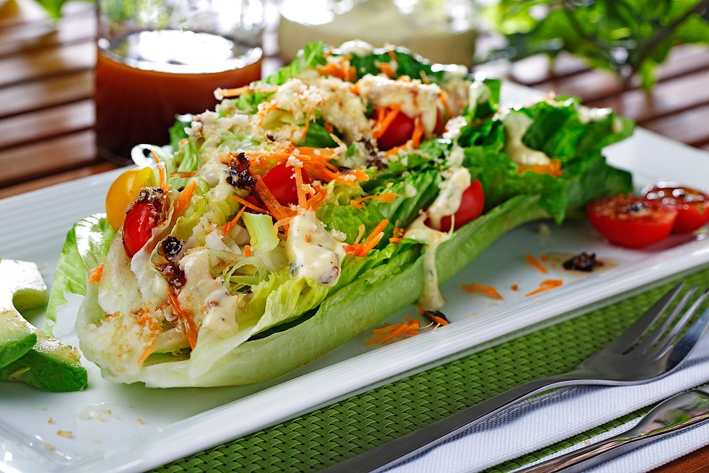 Double-Dressed Romaine Hearts with Creamy Cambozola Bacon and Shallot Infused Vinaigrette