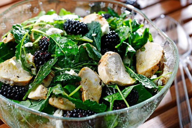 Grilled Chicken and Berry Salad with Pomegranate Dressing