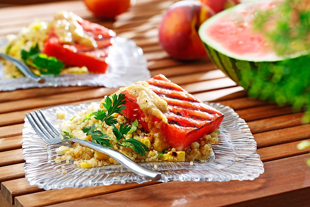 Grilled Watermelon Quinoa Salad with Peach Dressing