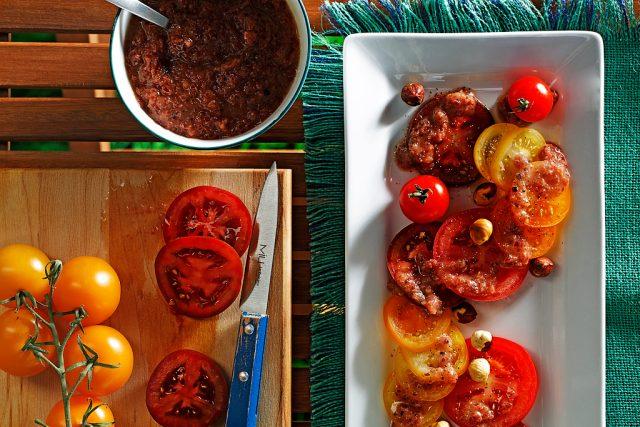 Rainbow Tomato Salad with Sweet Onion Vinaigrette