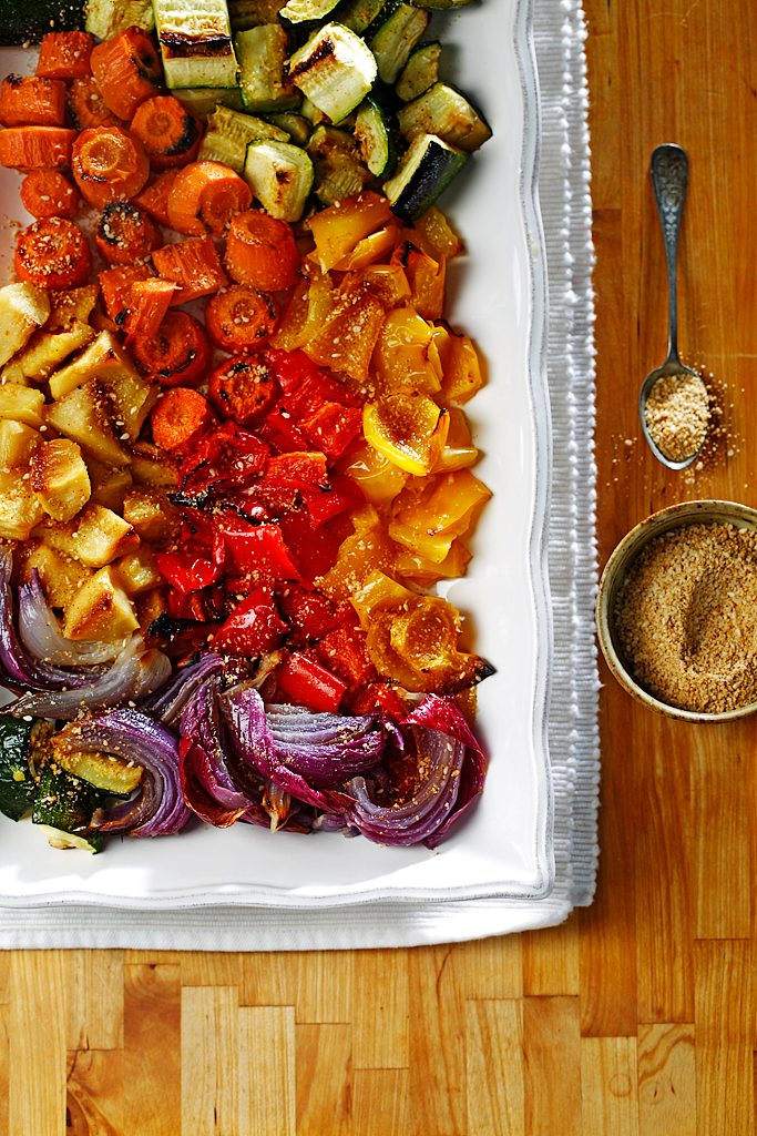 Roasted Vegetable and Apple Salad with Spicy Gomasio