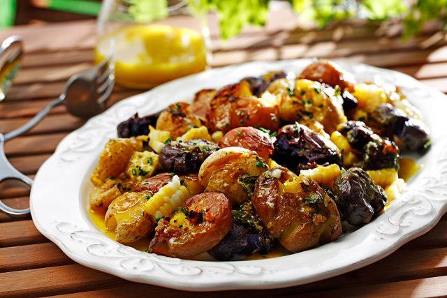 Smashed Potato and Corn Salad with Rosemary Vinaigrette