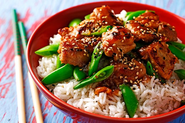 Honey Rhubarb Sesame Chicken