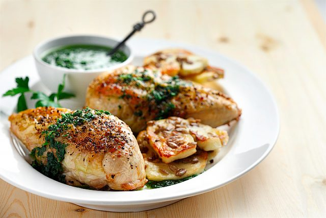 Roasted Chicken with Parsley Sauce and Halumi Cheese