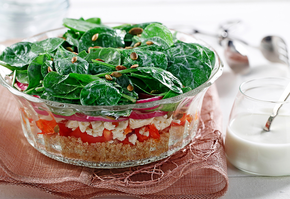 Layered Spinach and Quinoa Salad