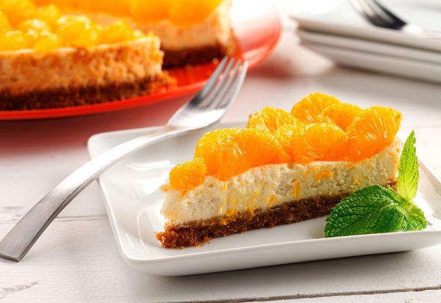 Lemongrass Cheesecake with Mandarin Orange Garnish